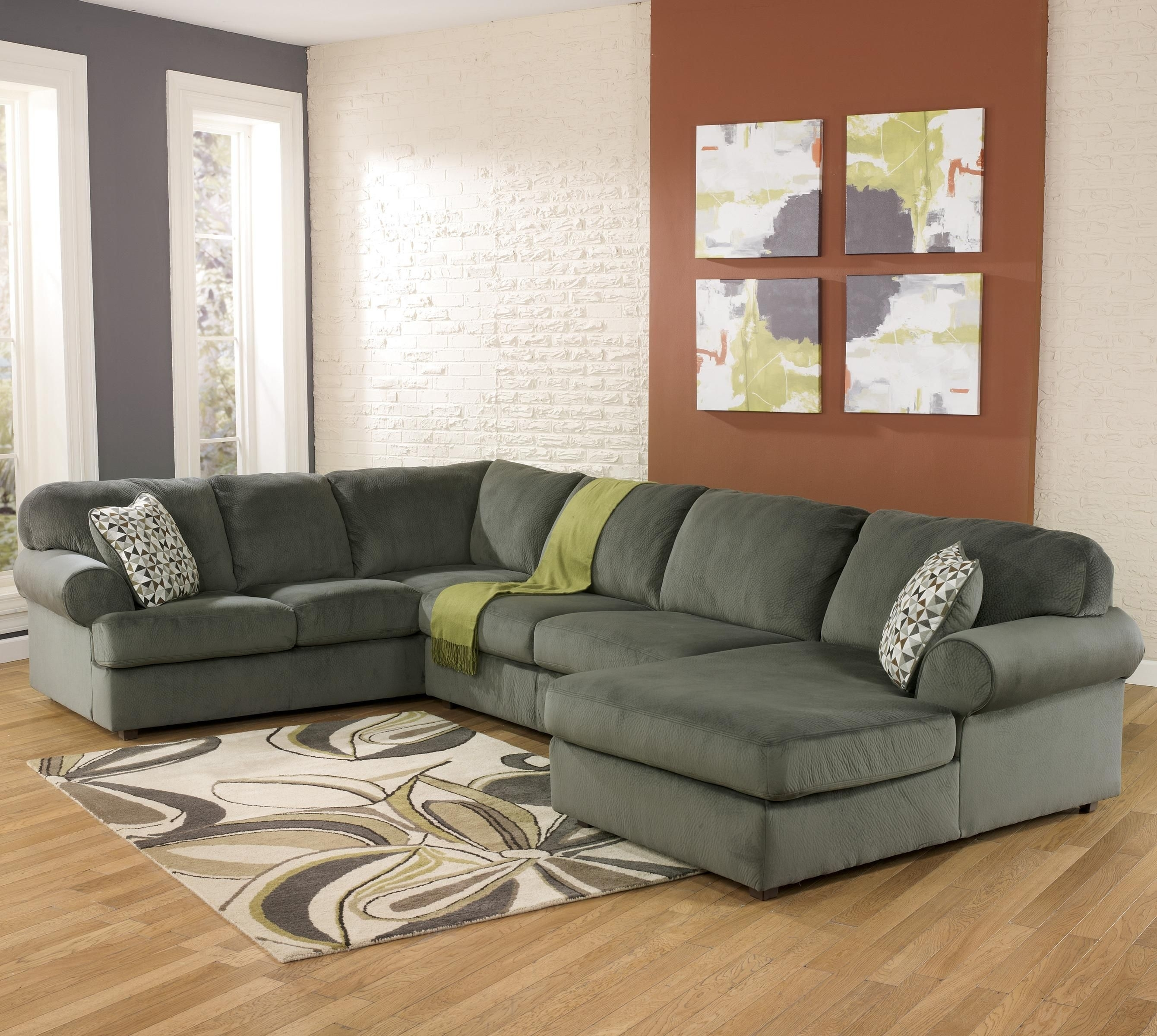 Jessa Place - Pewter Casual Sectional Sofa With Right Chaise within Collins Sofa Sectionals With Reversible Chaise (Image 15 of 30)