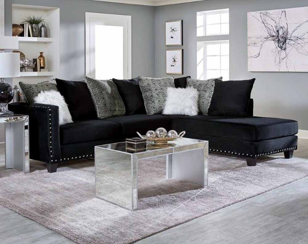 Jet Black 2 Pc. Sectional Sofa | American Freight regarding Norfolk Grey 6 Piece Sectionals With Raf Chaise (Image 13 of 30)