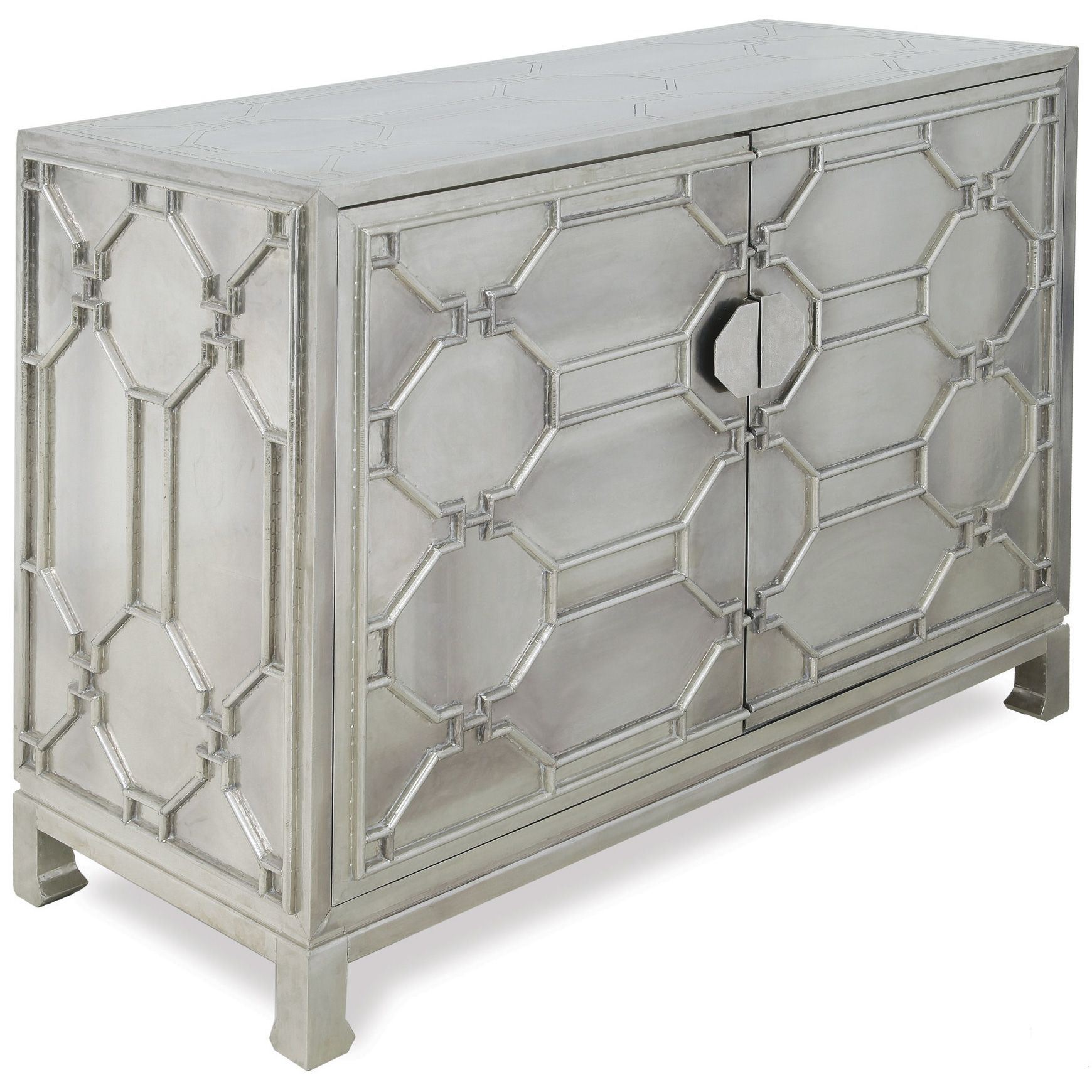 Jodie Hollywood Regency German Silver 2 Door Cabinet | Dining Room for Aged Mirrored 2 Door Sideboards (Image 18 of 30)