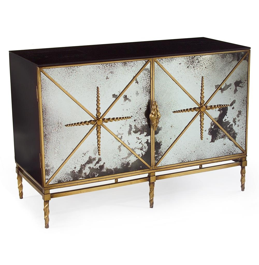 John-Richard Adalyn Hollywood Regency Antique Mirror Gold Black 2 in Aged Mirrored 4 Door Sideboards (Image 20 of 30)