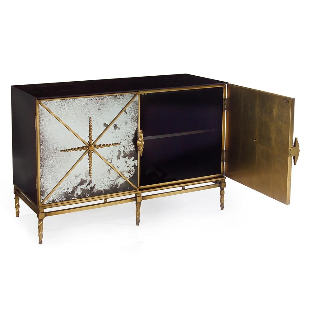 John-Richard Adalyn Hollywood Regency Antique Mirror Gold Black 2 with regard to Aged Mirrored 2 Door Sideboards (Image 21 of 30)