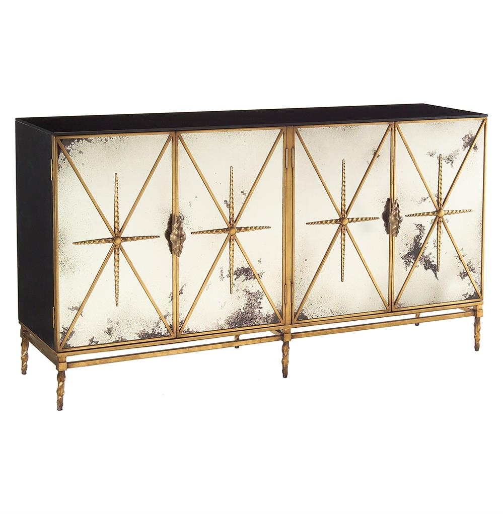 John Richard Adalyn Hollywood Regency Antique Mirror Gold Black 4 Pertaining To Carved 4 Door Metal Frame Sideboards (View 24 of 30)
