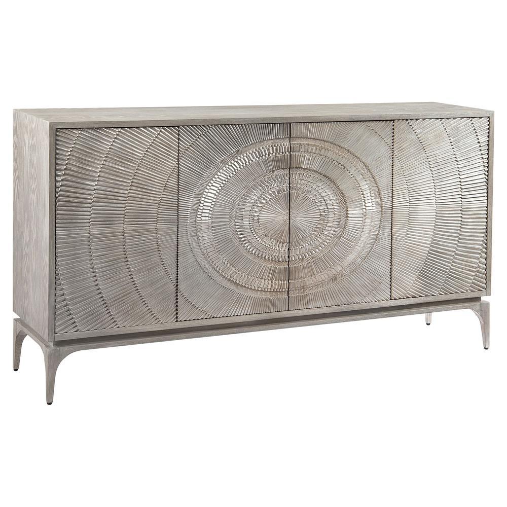 John-Richard Laila Regency Radiating Silver Grey Oak Sideboard throughout Black Oak Wood And Wrought Iron Sideboards (Image 13 of 30)