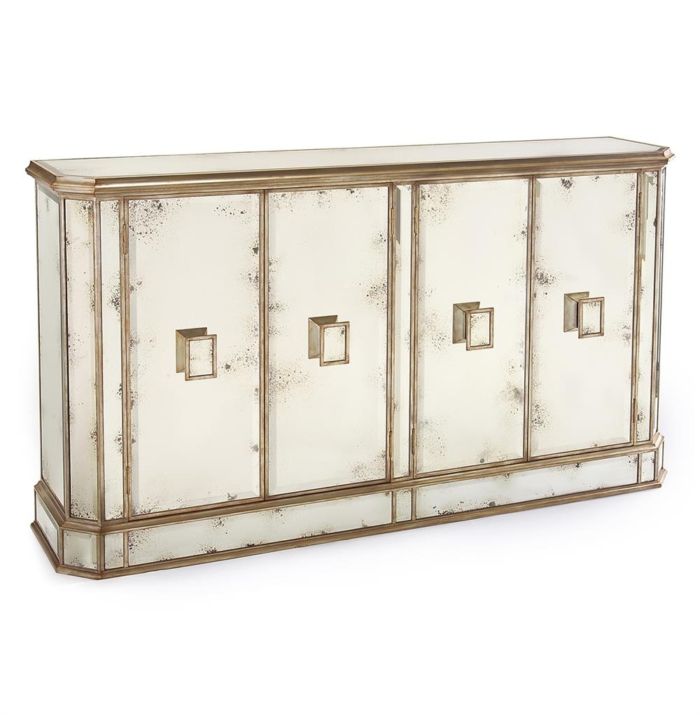 John-Richard Solange Hollywood Regency Antique Mirror Silver 4 Door throughout Metal Refinement 4 Door Sideboards (Image 20 of 30)