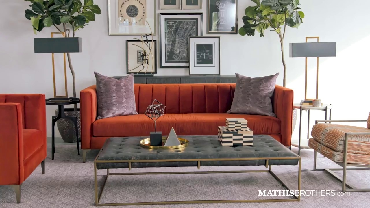 Jonathan Louis Velvet Low-Profile Sofa In Orange Crush - Youtube intended for Adeline 3 Piece Sectionals (Image 22 of 30)