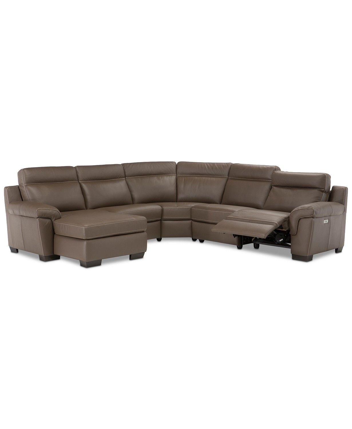 Julius Ii 5-Pc. Leather Chaise Sectional Sofa With 1 Power Recliner intended for Clyde Saddle 3 Piece Power Reclining Sectionals With Power Headrest & Usb (Image 19 of 30)