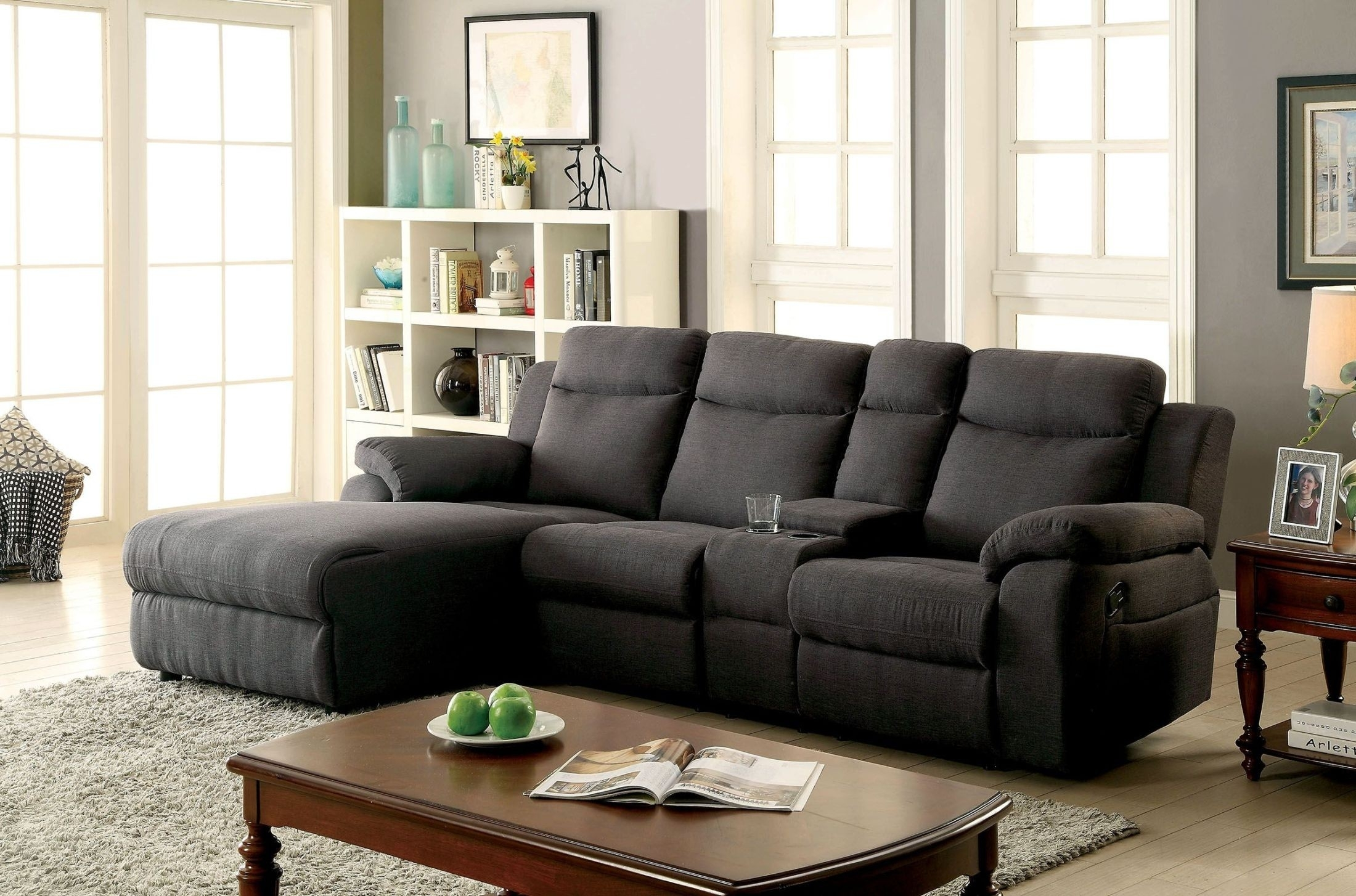 Kamryn Gray Reclining Sectional With Console, Cm6771Gy-Sectional for Lucy Grey 2 Piece Sleeper Sectionals With Raf Chaise (Image 12 of 30)