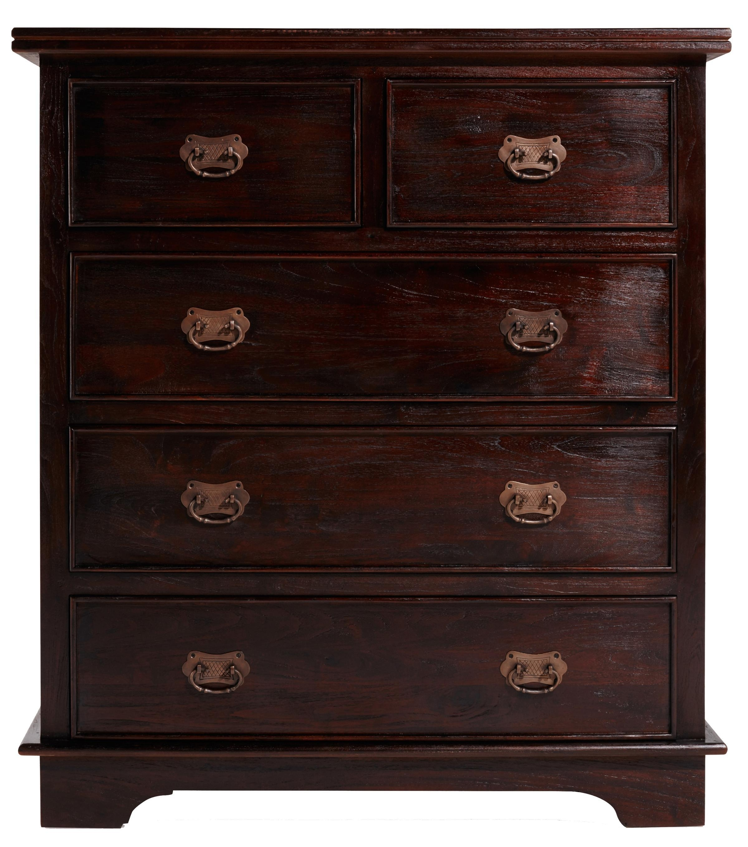 Keraton Carved Five Drawer Chestlombok In Chests Of Drawers Inside Mandara 3 Drawer 2 Door Sideboards (Photo 8 of 30)