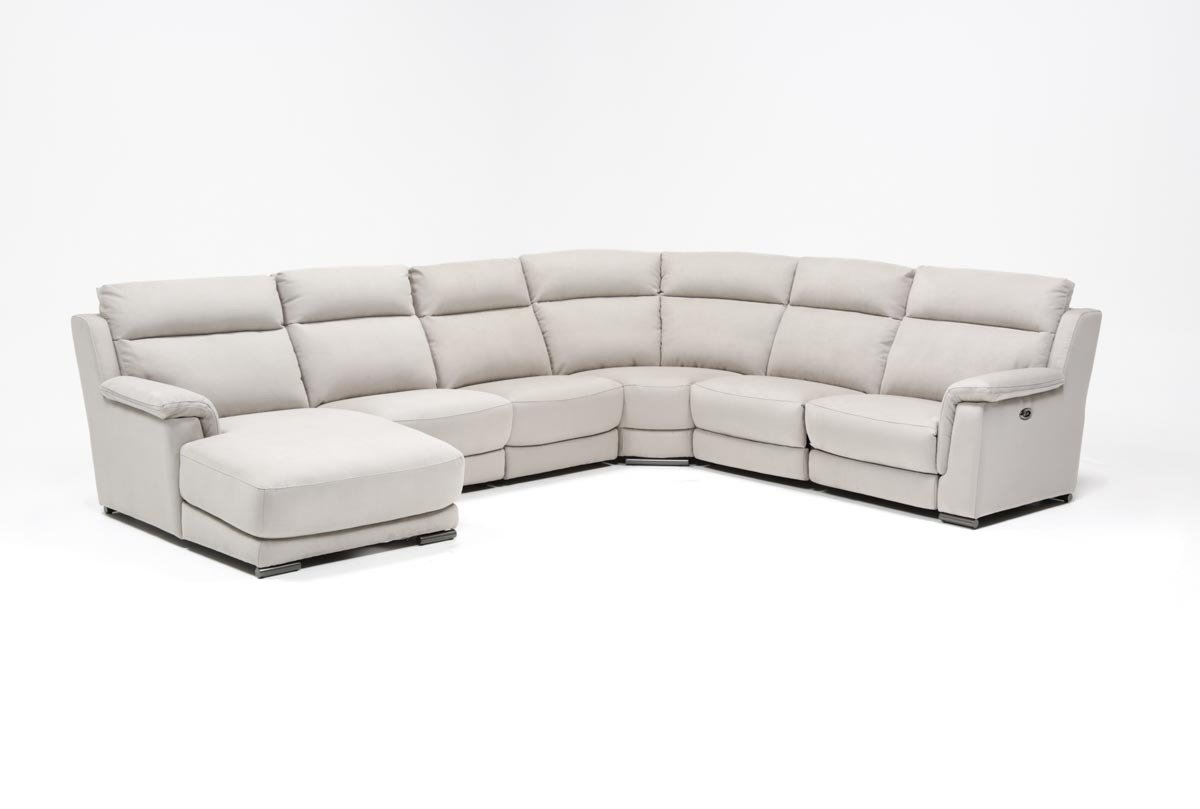 Kerwin Silver Grey 6 Piece Power Reclining Sectional W/laf Chaise with Kristen Silver Grey 6 Piece Power Reclining Sectionals (Image 10 of 30)