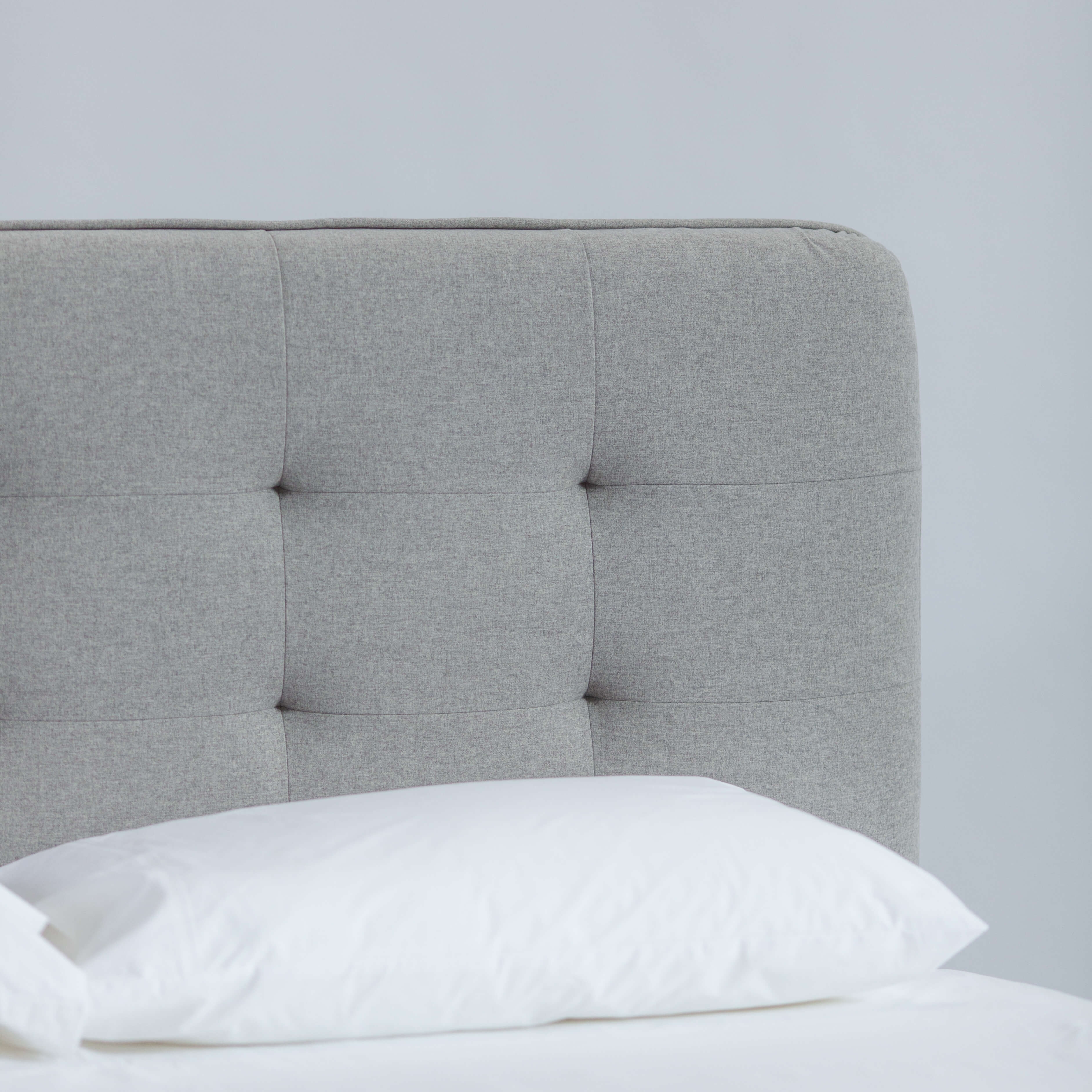 King Size Bed With Tufted Fabric Bedhead - Jaxon - Grey within Jaxon Sideboards (Image 18 of 30)