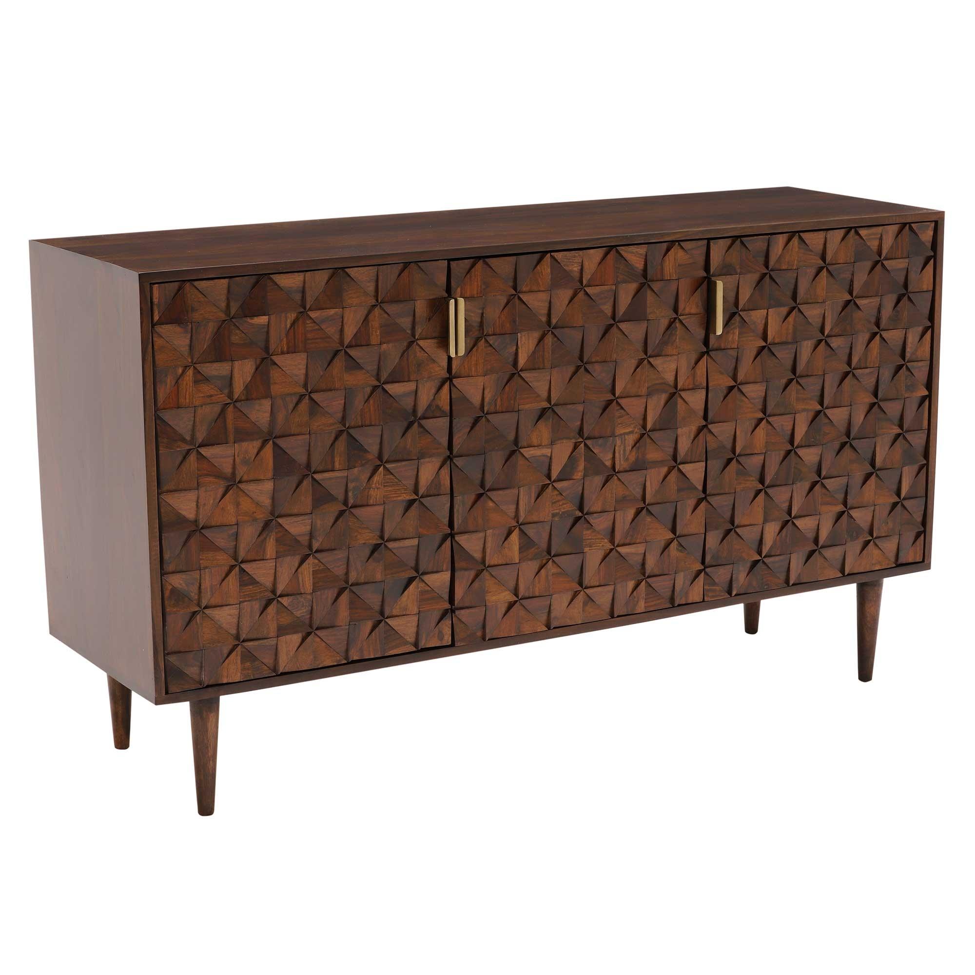 Kiro 3 Door Sideboard, American Walnut | Sideboards | Dining Room In Walnut Finish 2 Door/3 Drawer Sideboards (Photo 5 of 30)