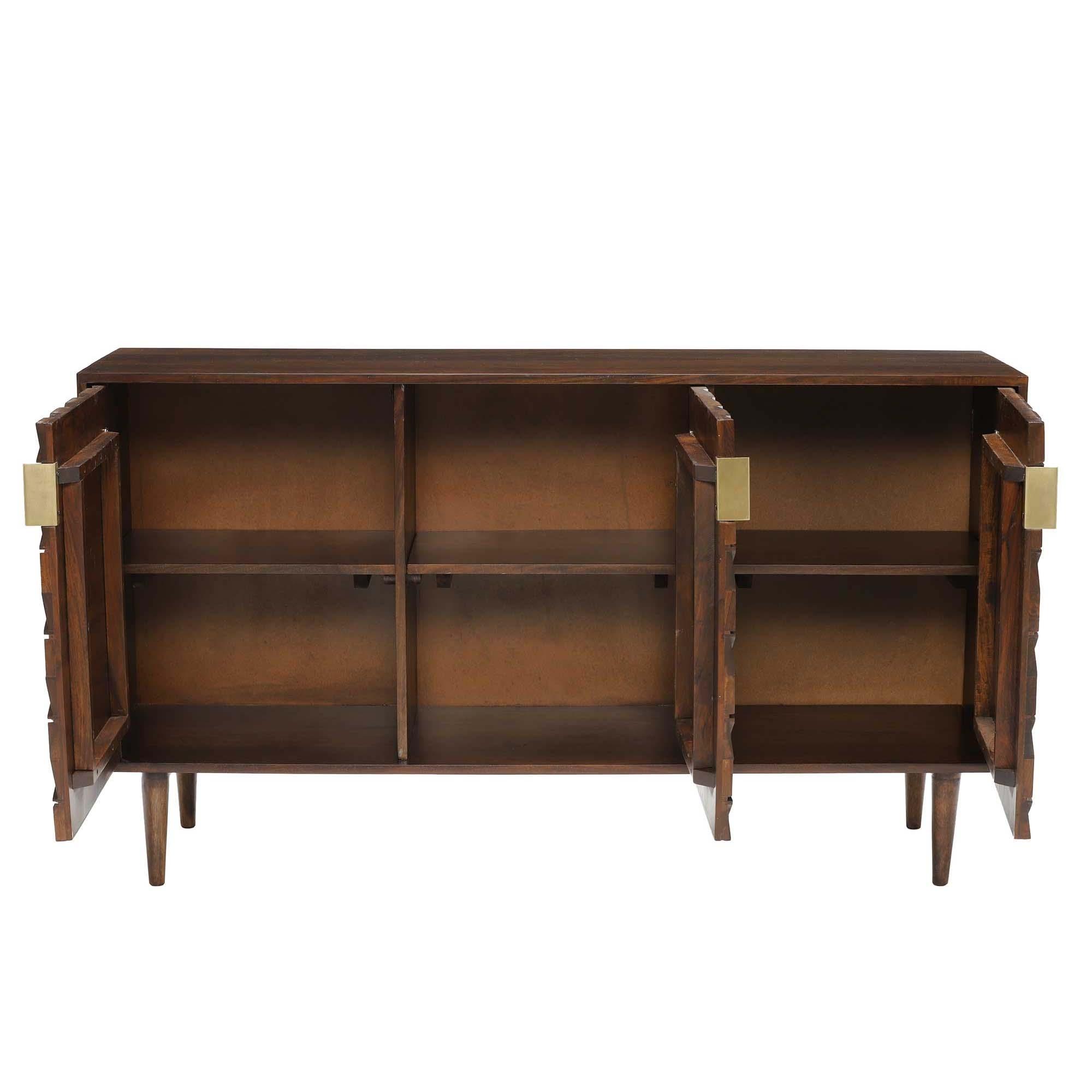 Kiro 3 Door Sideboard, American Walnut | Sideboards | Dining Room with Walnut Finish 2-Door/3-Drawer Sideboards (Image 15 of 30)