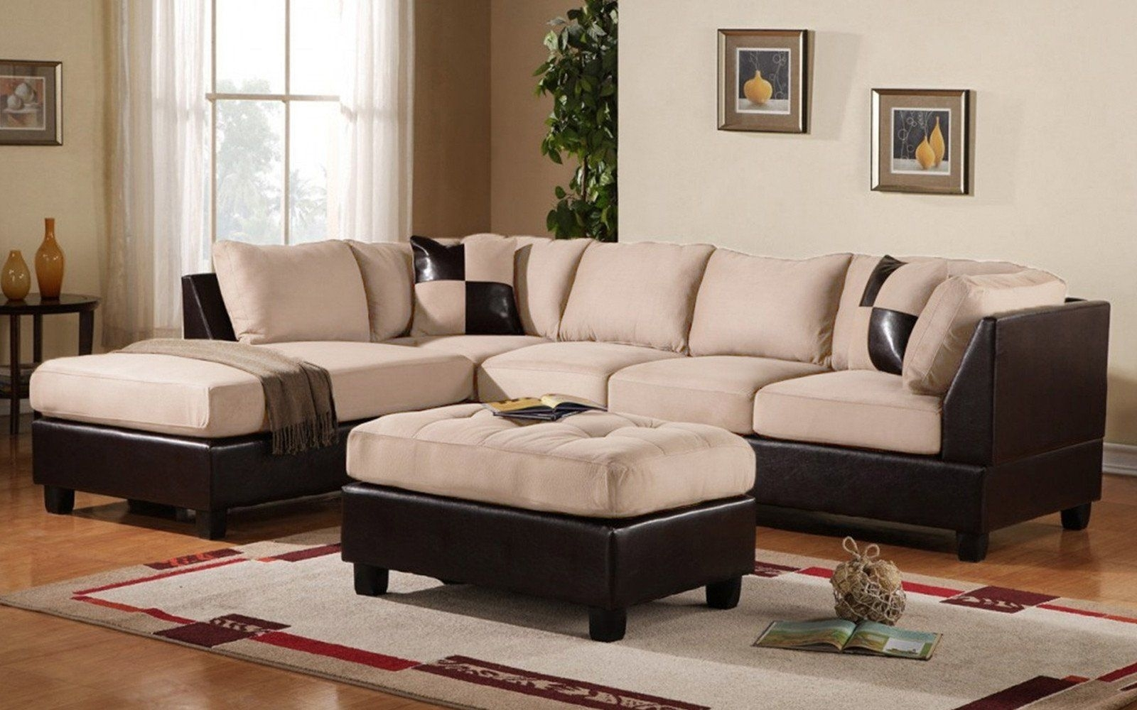 Koko Classic (3) Piece Microfiber And Faux Leather Sectional With intended for Burton Leather 3 Piece Sectionals With Ottoman (Image 13 of 30)