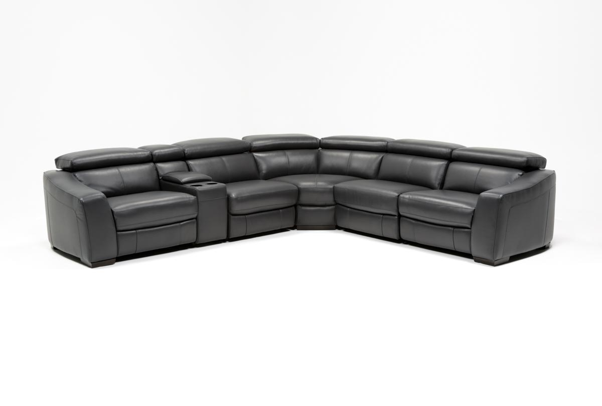 Kristen Slate Grey 6 Piece Power Reclining Sectional | Living Spaces intended for Kristen Silver Grey 6 Piece Power Reclining Sectionals (Image 13 of 30)