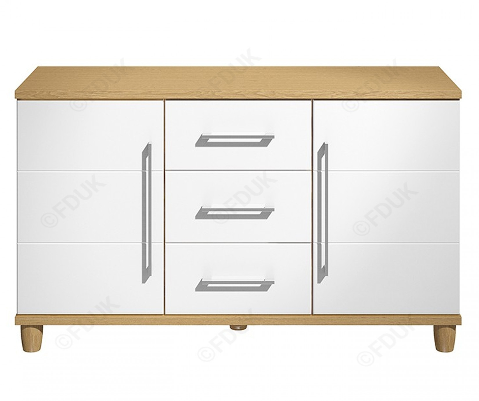Kt Halo | Gloss White 2 Door 3 Drawer Sideboard | Furnituredirectuk Intended For 3 Drawer/2 Door Sideboards (View 15 of 30)