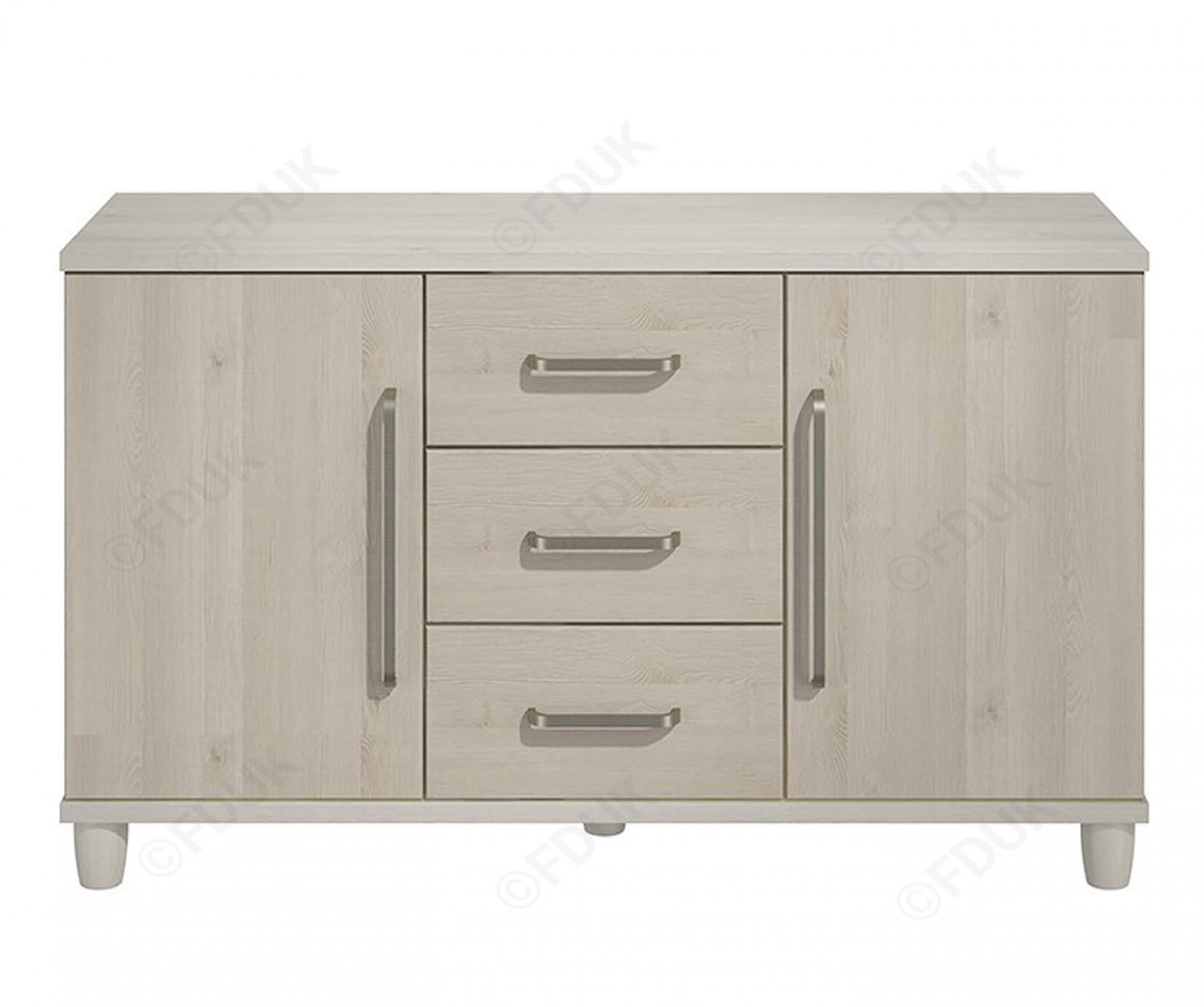 Kt | Moda Cashmere And Elm 2 Door 3 Drawer Sideboard Pertaining To 3 Drawer/2 Door Sideboards (Photo 11 of 30)