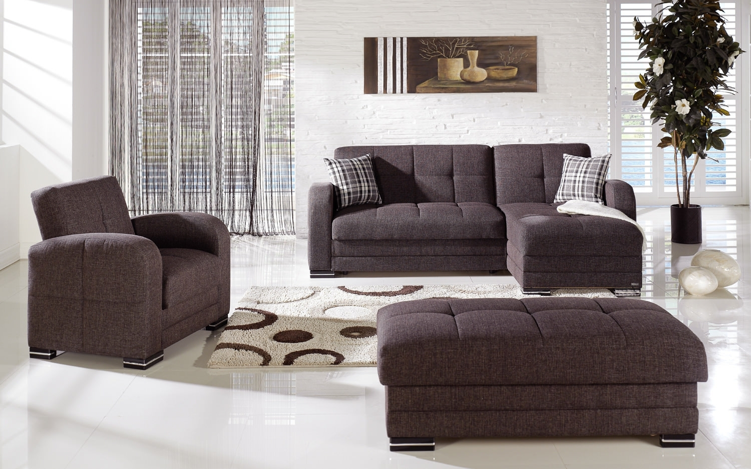 Kubo Andre Dark Brown Sectional Sofaistikbal (Sunset) throughout Aspen 2 Piece Sleeper Sectionals With Laf Chaise (Image 15 of 30)