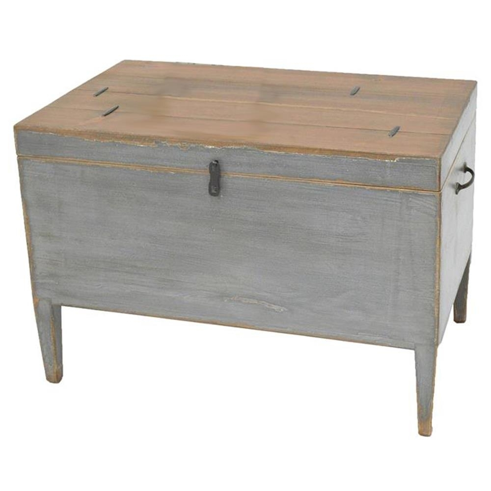 Kyrah Rustic French Grey Reclaimed Pine Wood Trunk Side Table Intended For Reclaimed Pine & Iron 72 Inch Sideboards (Photo 16 of 30)