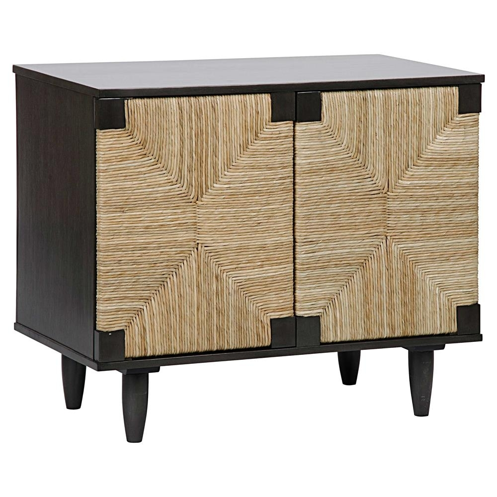 Landon Coastal Beach Brown Rush Seagrass Black Mahogany 2 Door Sideboard pertaining to Jaxon Sideboards (Image 19 of 30)