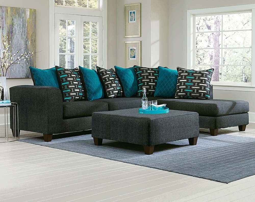 Large Black Two Toned 2 Piece Sectional Sofa | American Freight for Norfolk Grey 6 Piece Sectionals (Image 16 of 30)