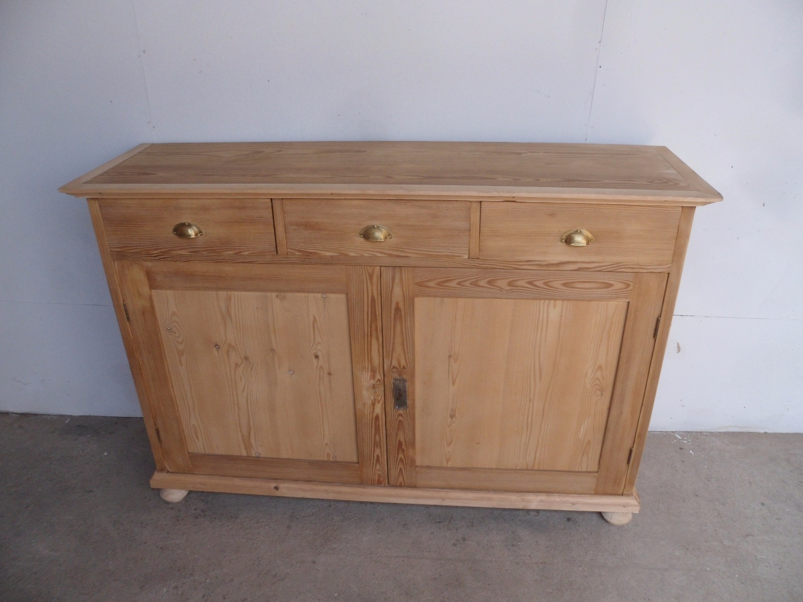 Large Narrow Old Pine 2 Door 3 Drawer Kitchen Dresser Base To Wax with Aged Pine 3-Drawer 2-Door Sideboards (Image 19 of 30)