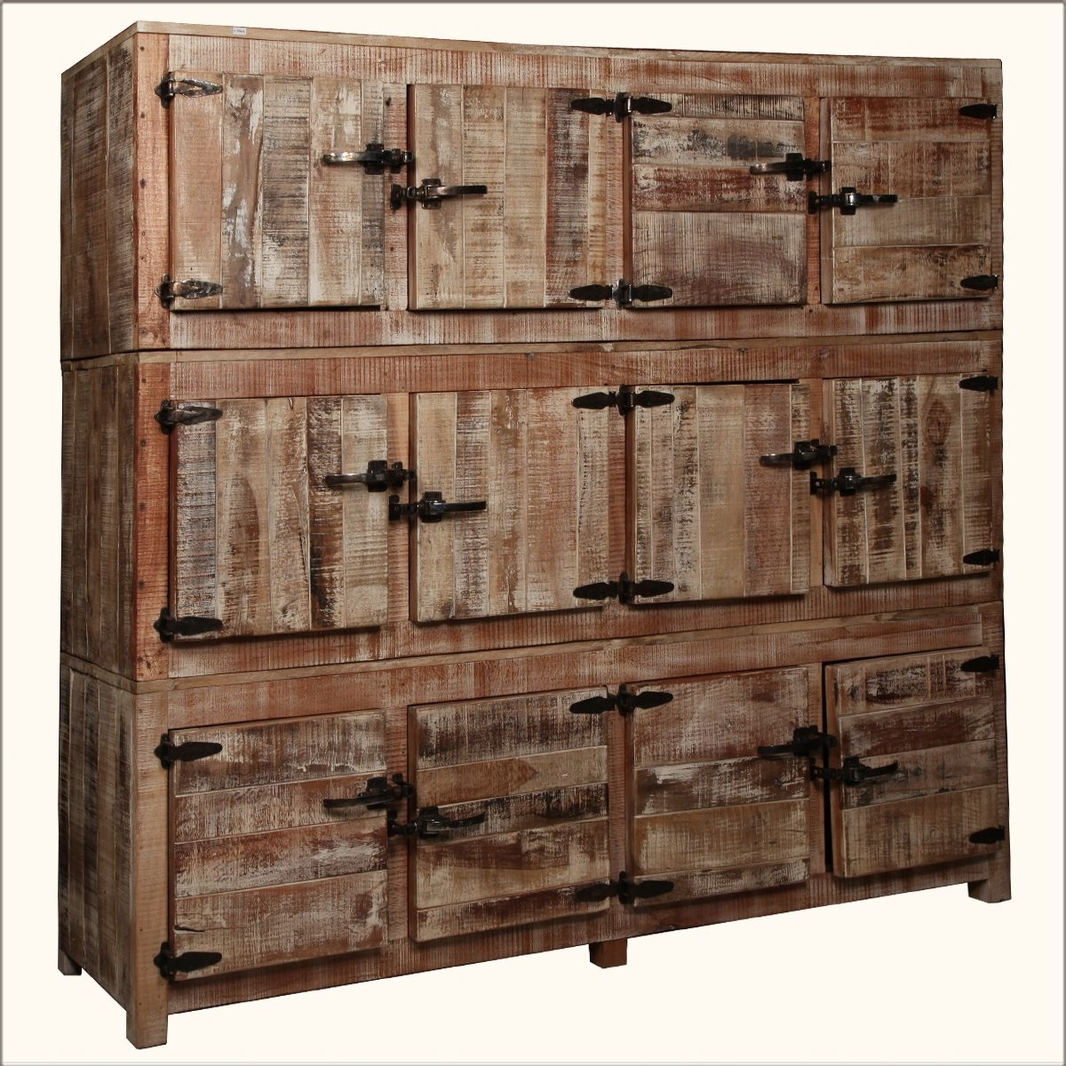 Large Rustic Reclaimed Wood 12 Storage Box Wall Unit Storage Cabinet in Reclaimed 3 Drawer Icebox Sideboards (Image 14 of 30)