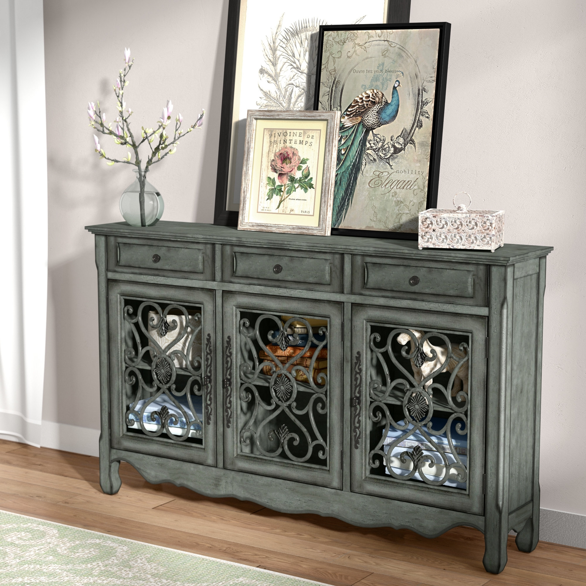 Lark Manor Mauzy Sideboard & Reviews | Wayfair inside Iron Sideboards (Image 18 of 30)