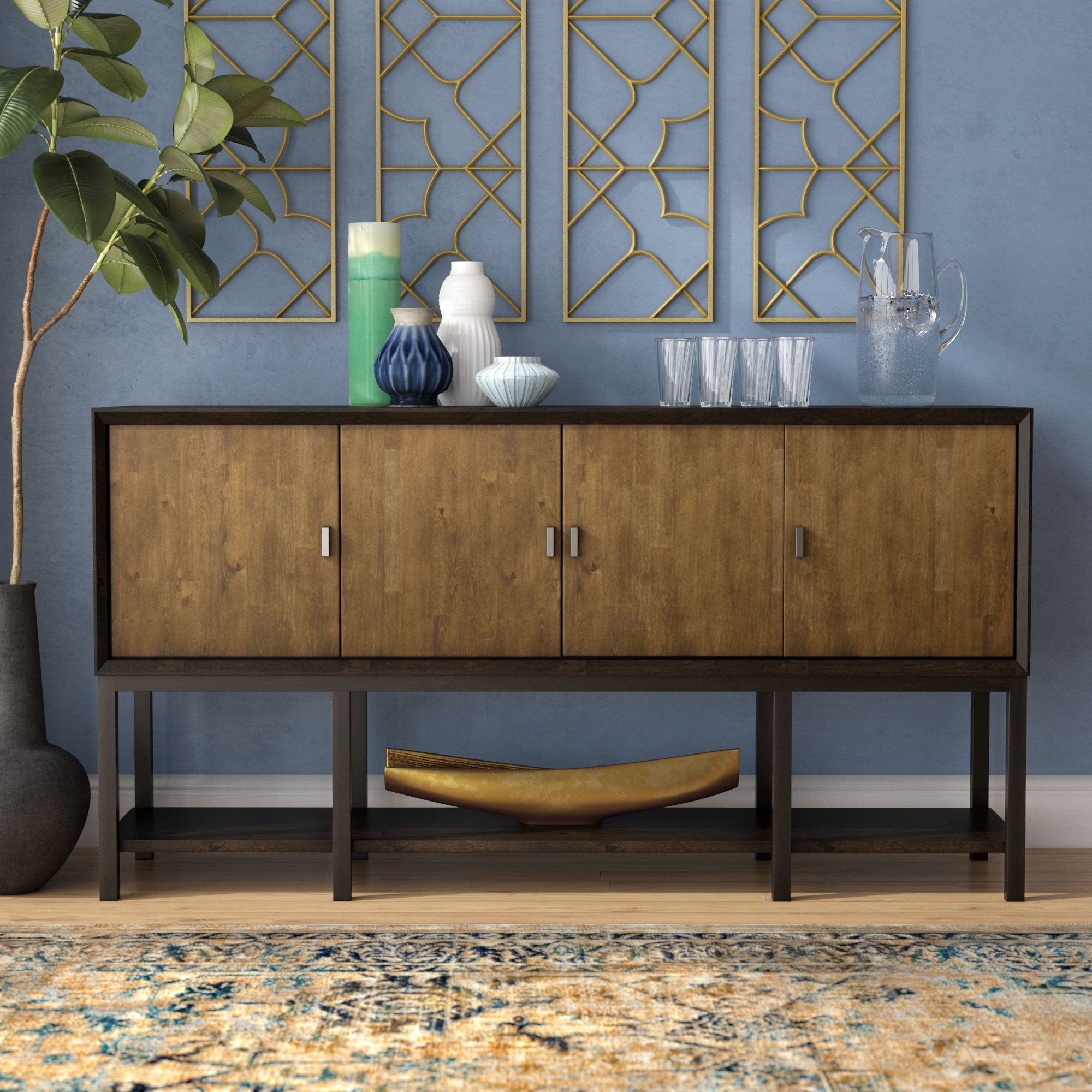Latitude Run Kolton Sideboard & Reviews | Wayfair regarding Open Shelf Brass 4-Drawer Sideboards (Image 10 of 30)
