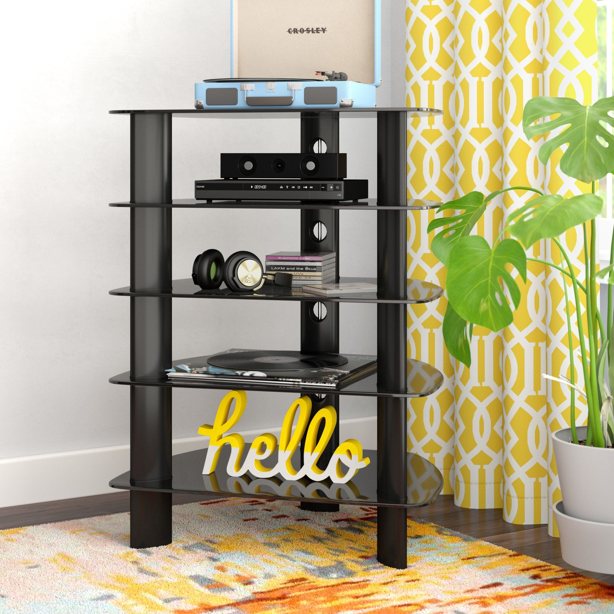 Latitude Run Norwood Glass Component Stand Audio Rack & Reviews pertaining to Norwood Sideboards (Image 13 of 30)