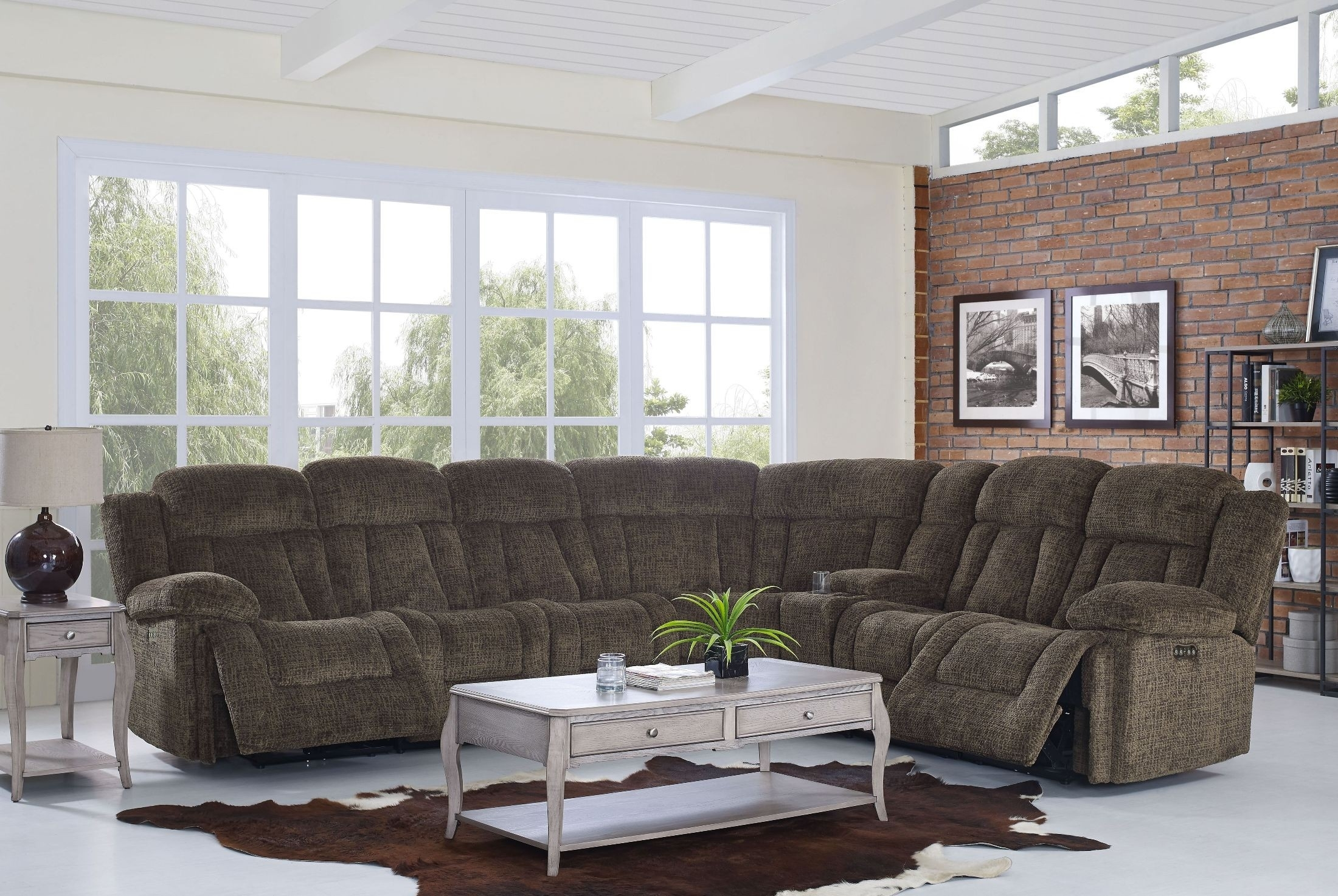 Laura Chocolate Reclining Sectional From New Classic | Coleman Furniture with Turdur 2 Piece Sectionals With Laf Loveseat (Image 13 of 30)