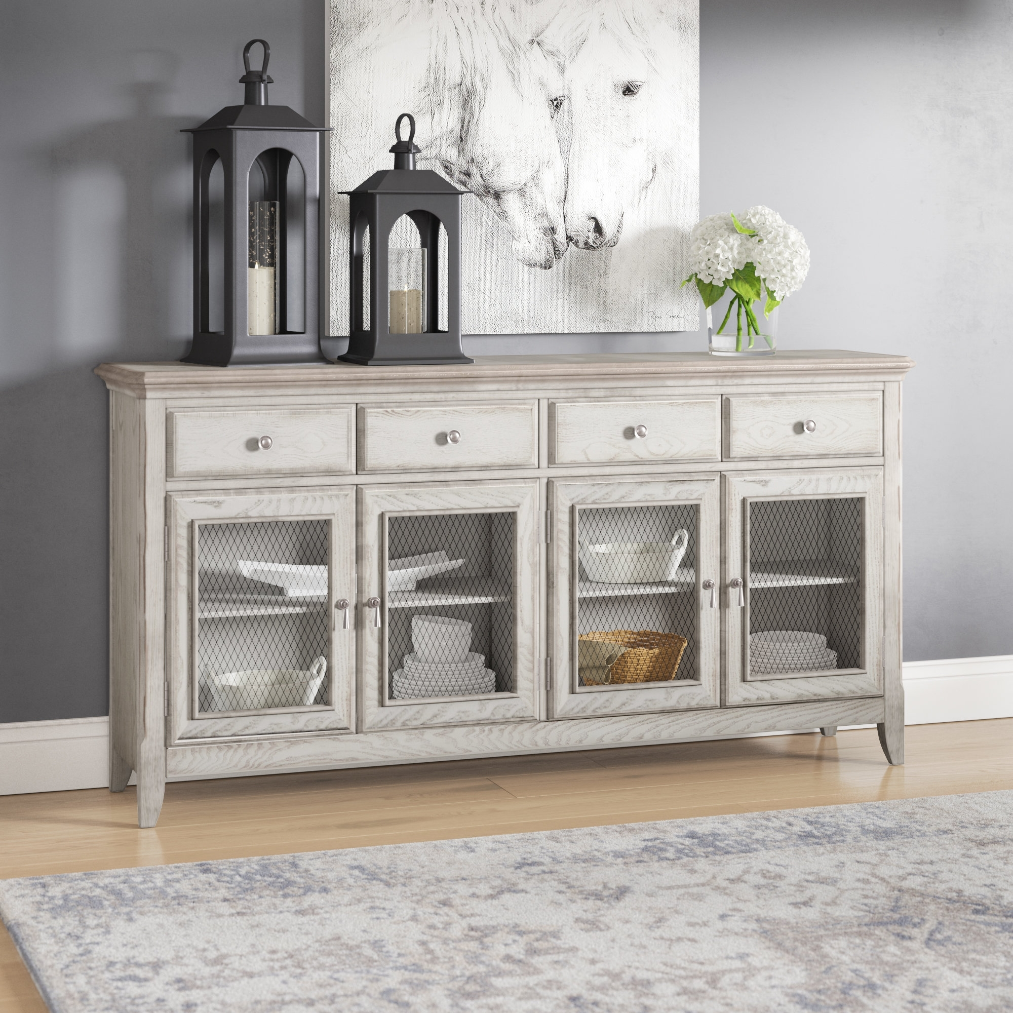 Laurel Foundry Modern Farmhouse Guerrera 4 Door Credenza With Wire throughout 4-Door/4-Drawer Metal Inserts Sideboards (Image 17 of 30)