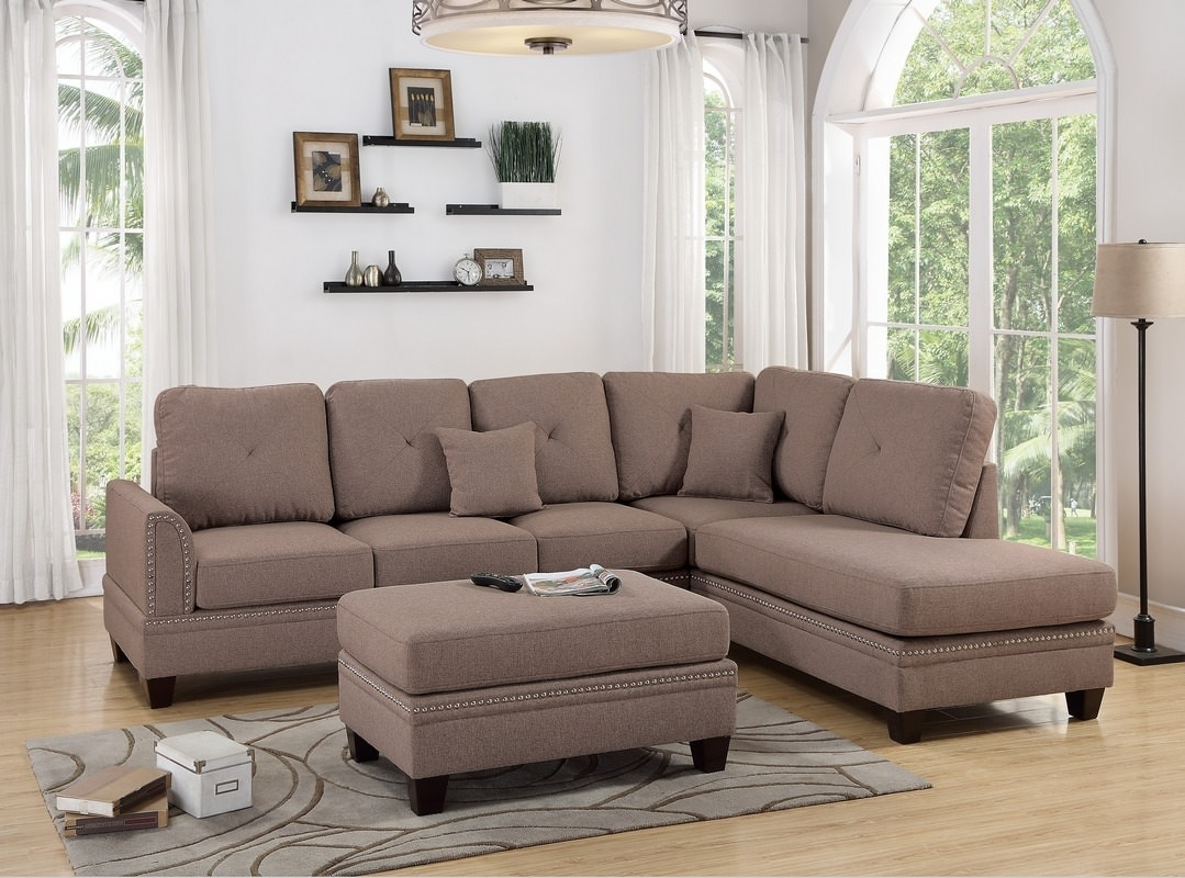 Leather & Fabric Sectional Sofas for Aidan 4 Piece Sectionals (Image 16 of 30)