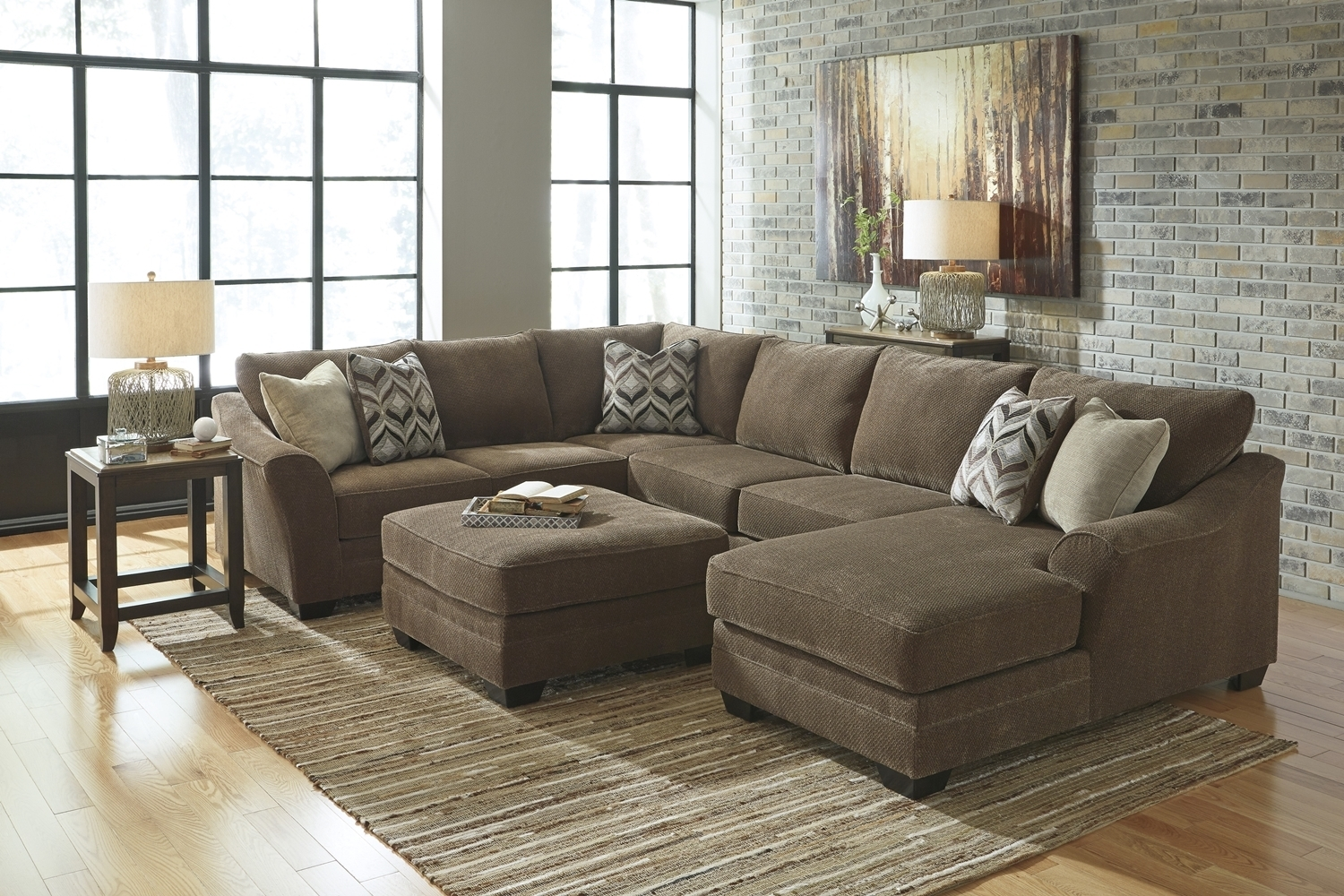 Leather & Fabric Sectional Sofas for Tatum Dark Grey 2 Piece Sectionals With Laf Chaise (Image 14 of 30)
