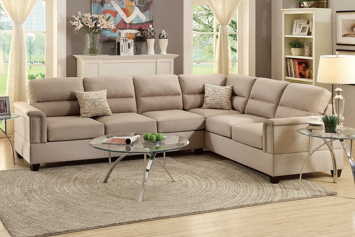 Leather & Fabric Sectional Sofas inside Aidan 4 Piece Sectionals (Image 17 of 30)