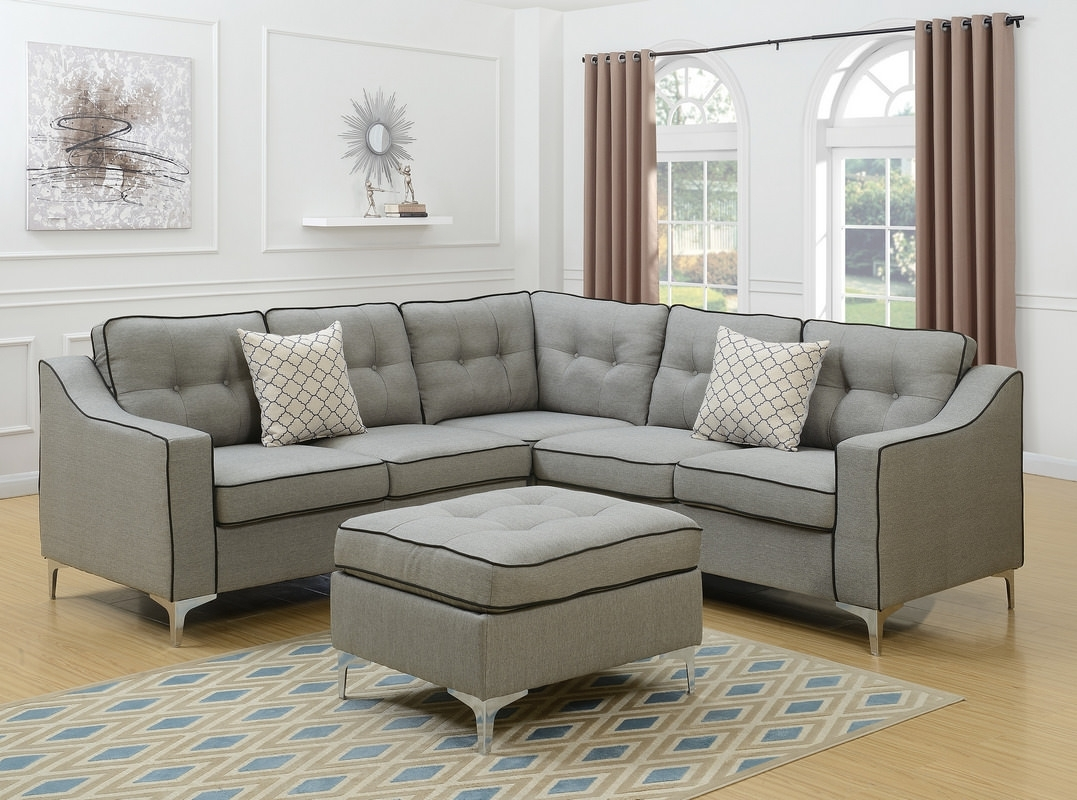 Leather & Fabric Sectional Sofas pertaining to Aidan 4 Piece Sectionals (Image 18 of 30)
