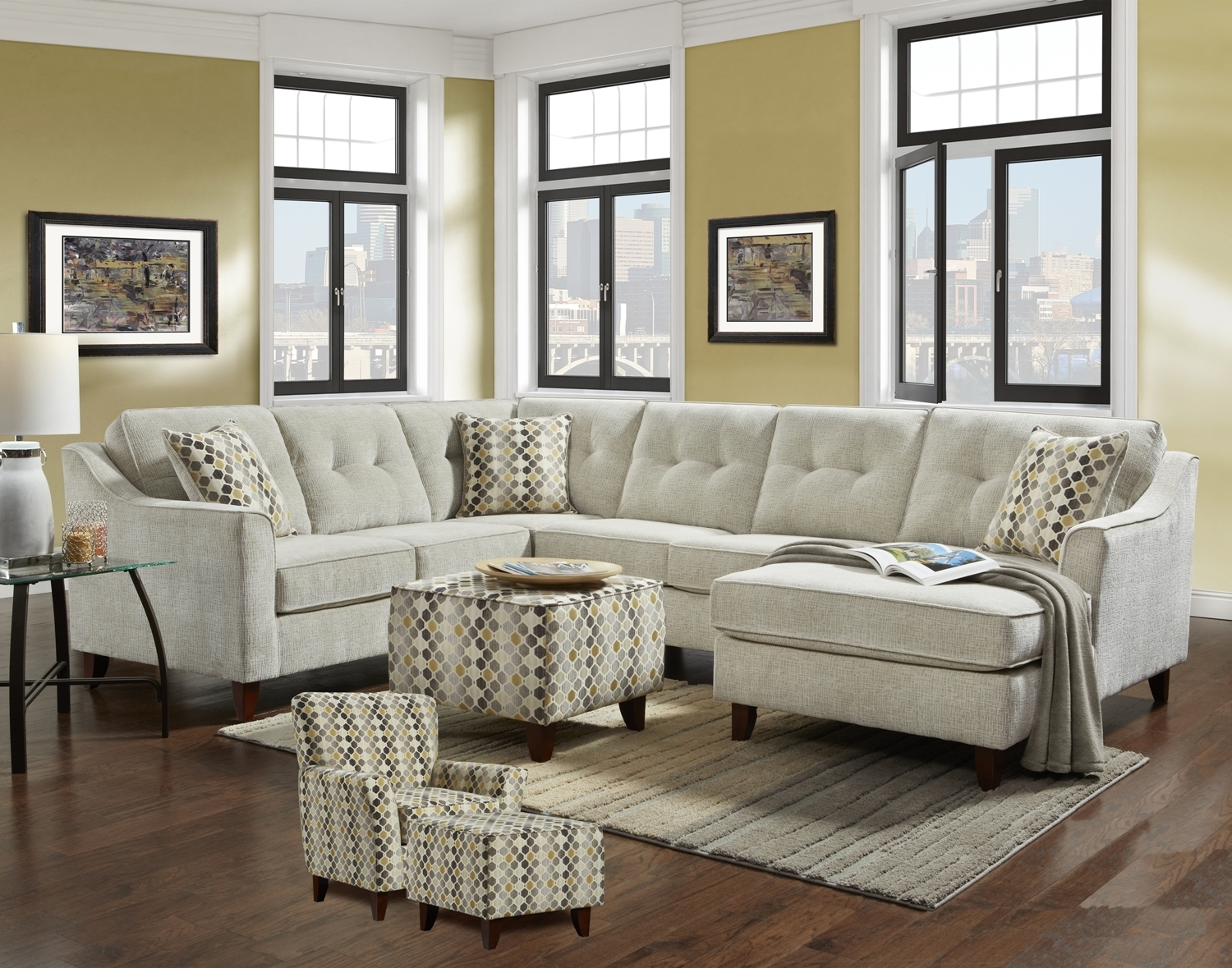 Leather & Fabric Sectional Sofas with regard to Aidan 4 Piece Sectionals (Image 20 of 30)