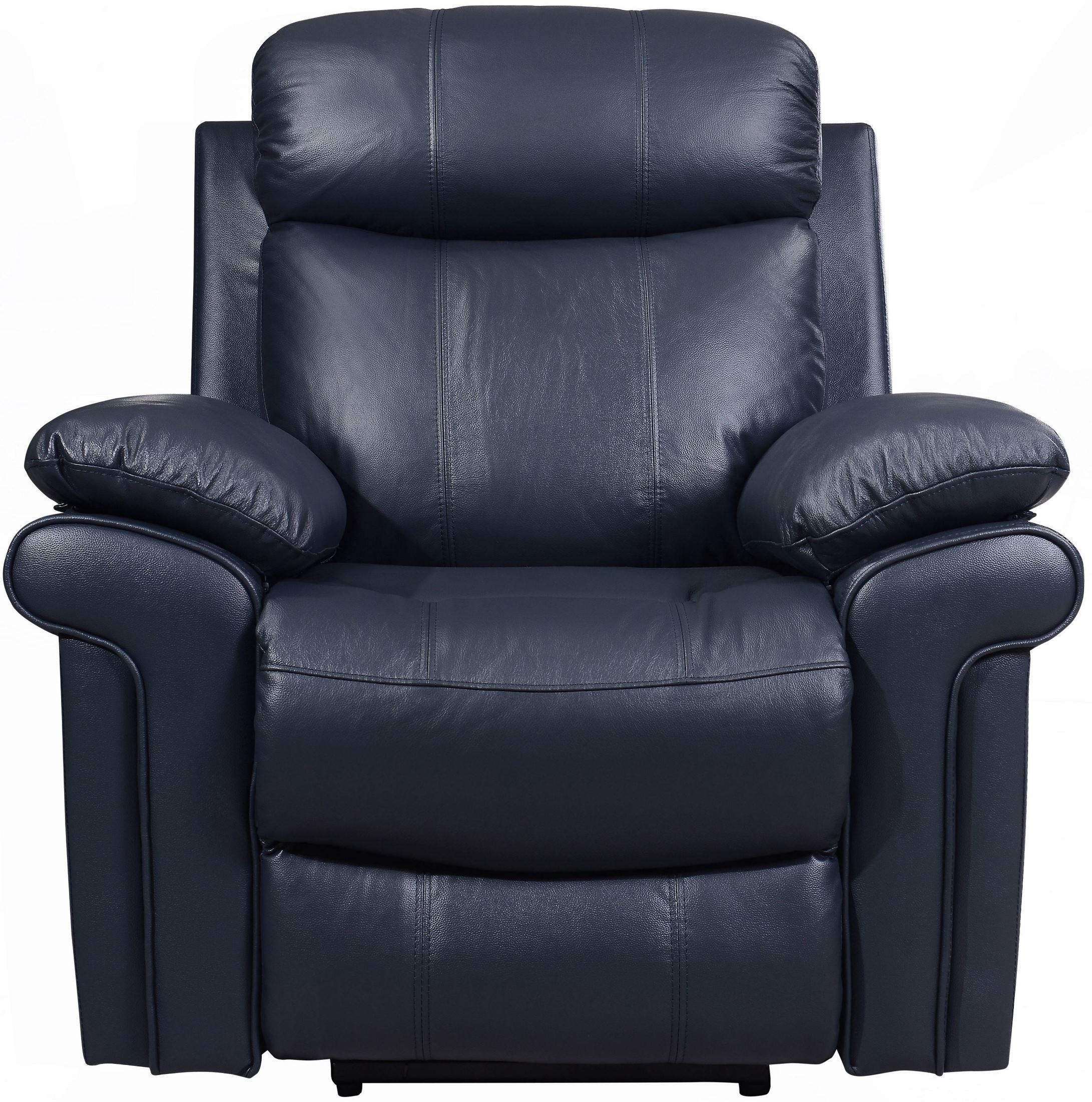 Leather Italia Usa Shae Joplin Blue Leather Power Reclining Chair inside Travis Dk Grey Leather 6 Piece Power Reclining Sectionals With Power Headrest & Usb (Image 10 of 30)