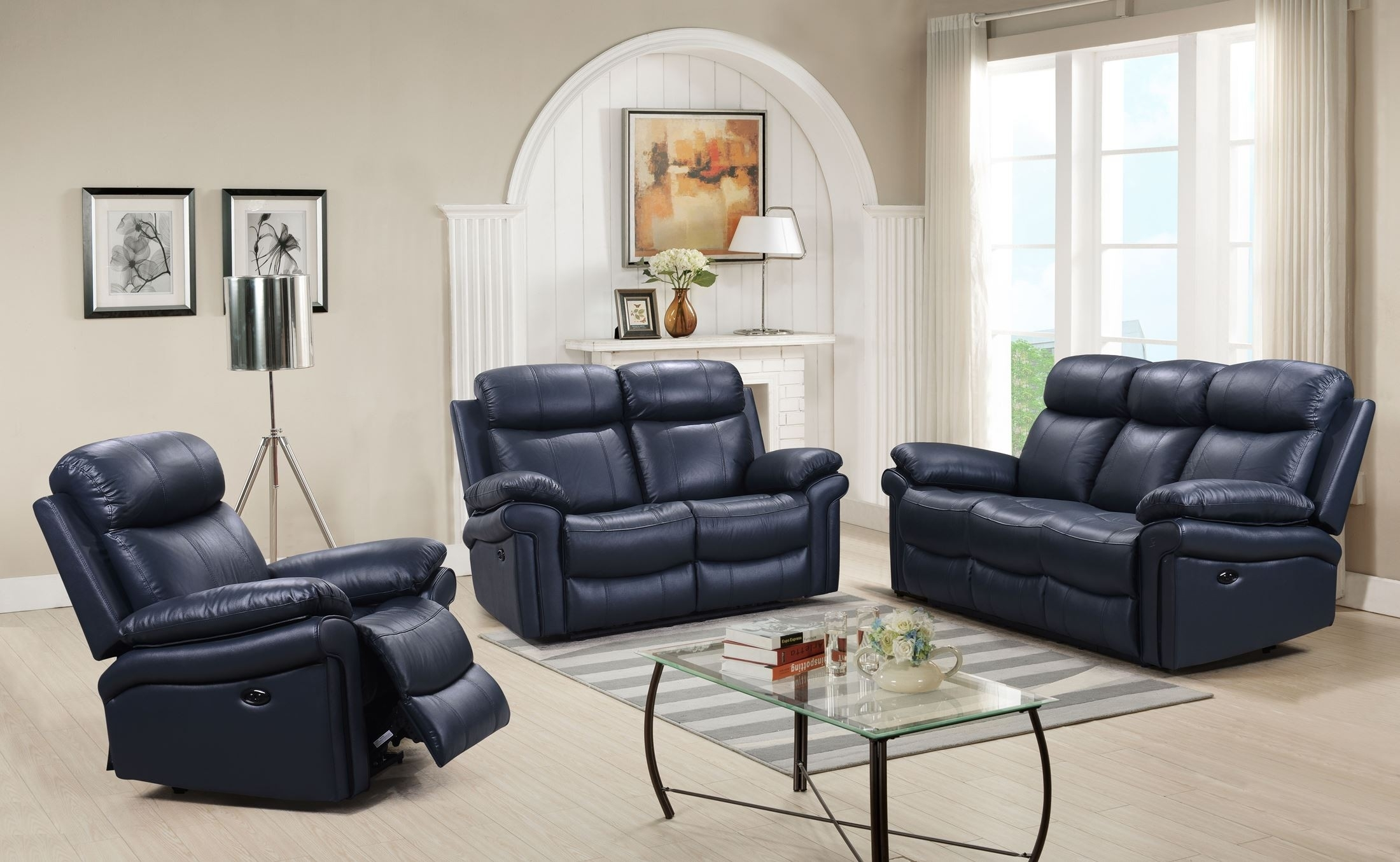 Leather Italia Usa Shae Joplin Blue Leather Power Reclining Chair intended for Travis Dk Grey Leather 6 Piece Power Reclining Sectionals With Power Headrest & Usb (Image 11 of 30)