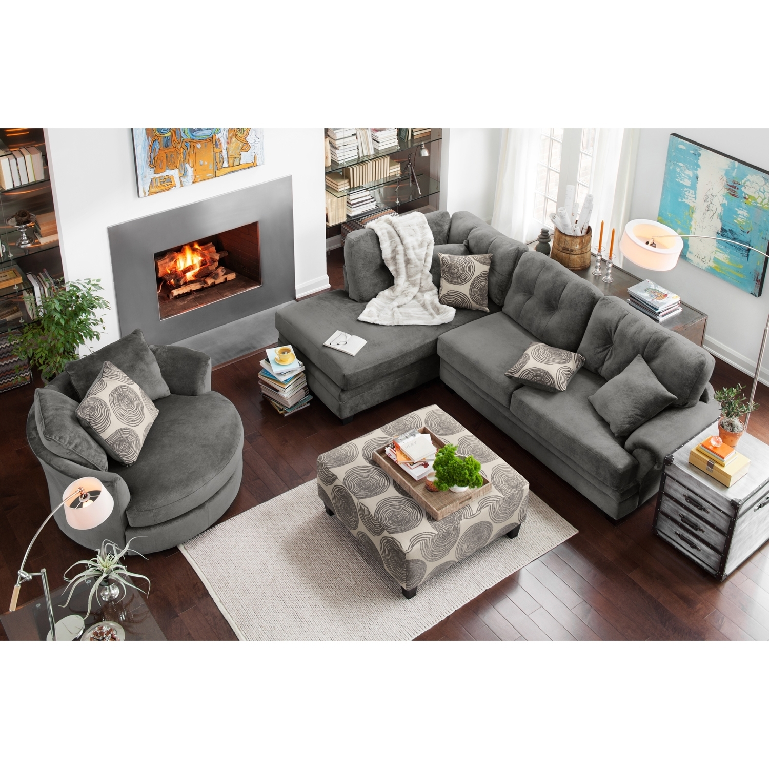 Left Facing Sectional Sofa Leather Arm Truscotti Stock Rooms Gray within Tenny Cognac 2 Piece Right Facing Chaise Sectionals With 2 Headrest (Image 16 of 30)