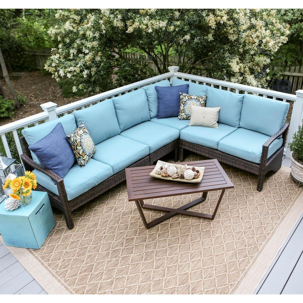 Leisure Made Augusta 5-Piece Wicker Outdoor Sectional Set With Blue throughout Haven Blue Steel 3 Piece Sectionals (Image 16 of 30)