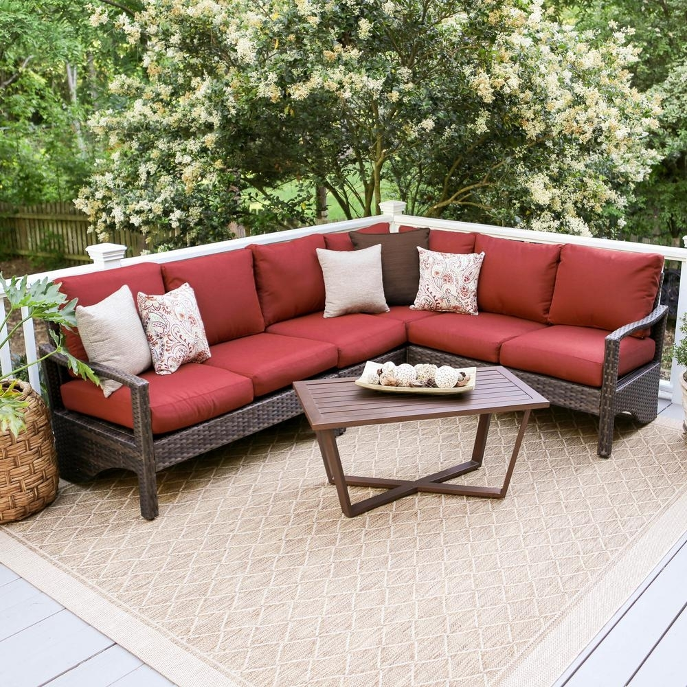 Leisure Made Augusta 5-Piece Wicker Outdoor Sectional Set With Red intended for Haven Blue Steel 3 Piece Sectionals (Image 17 of 30)