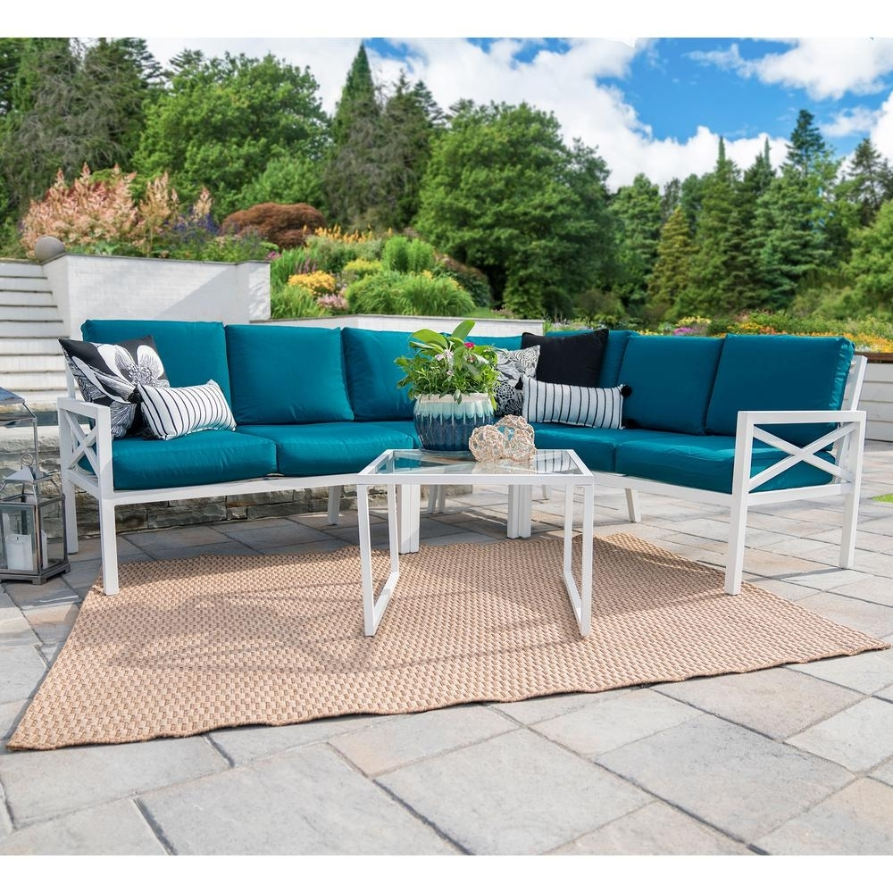 Leisure Made Blakely White 5-Piece Aluminum Outdoor Sectional Set regarding Haven Blue Steel 3 Piece Sectionals (Image 18 of 30)