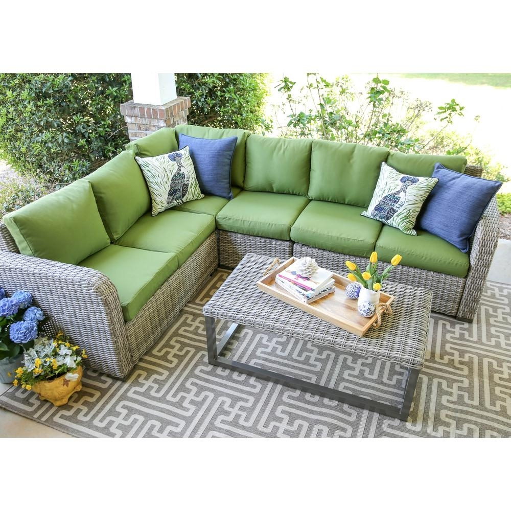 Leisure Made Forsyth 5-Piece Wicker Outdoor Sectional Set With Green with Haven Blue Steel 3 Piece Sectionals (Image 19 of 30)