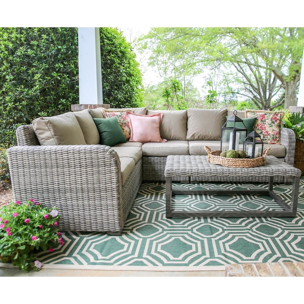Leisure Made Forsyth 5-Piece Wicker Outdoor Sectional Set With Tan intended for Haven Blue Steel 3 Piece Sectionals (Image 20 of 30)