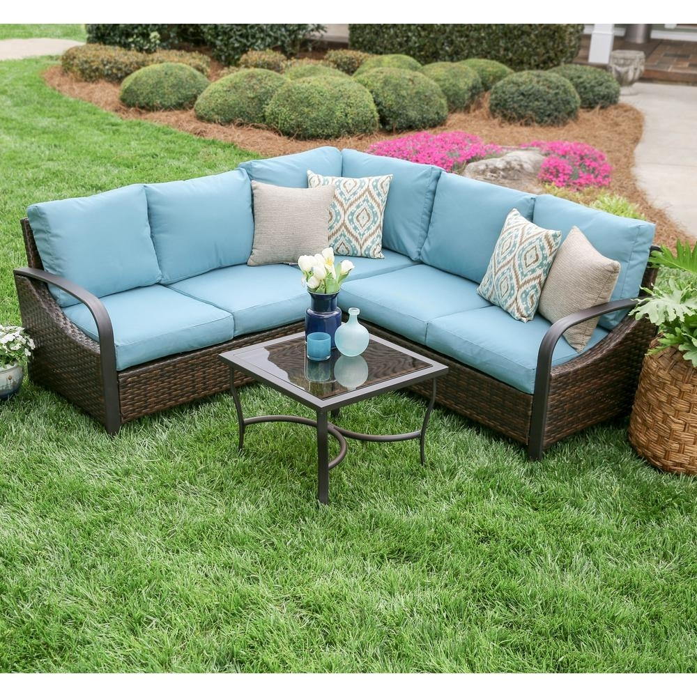 Leisure Made Trenton 4-Piece Wicker Outdoor Sectional Set With Blue inside Haven Blue Steel 3 Piece Sectionals (Image 21 of 30)