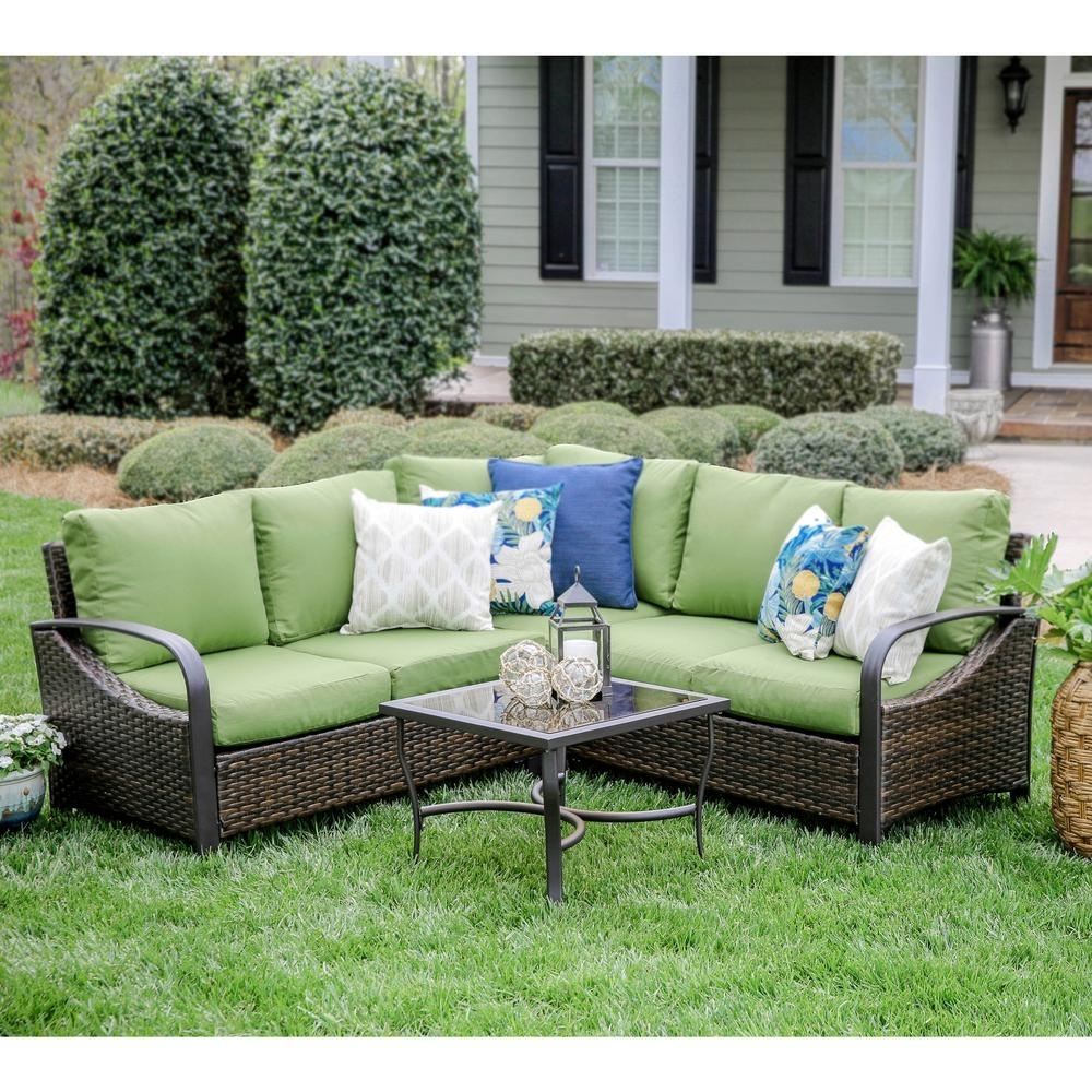 Leisure Made Trenton 4-Piece Wicker Outdoor Sectional Set With Green for Haven Blue Steel 3 Piece Sectionals (Image 22 of 30)