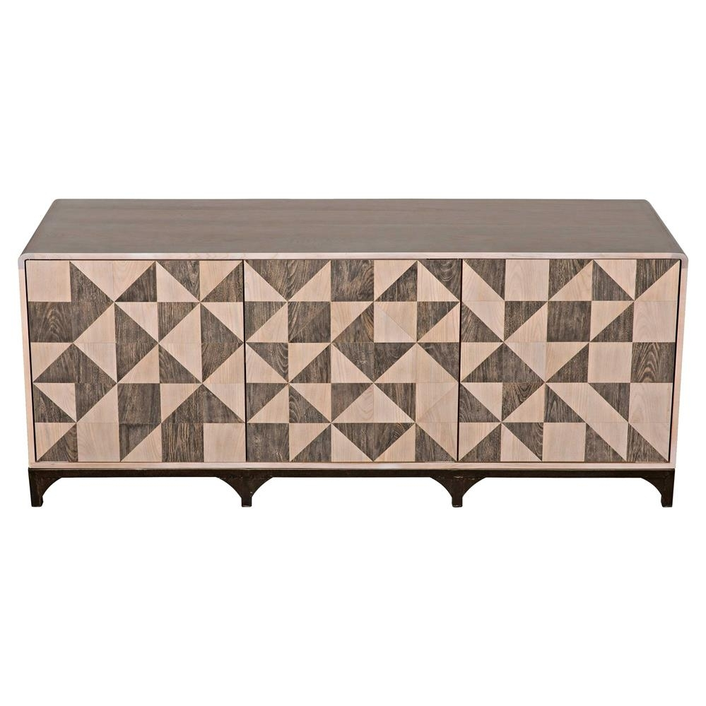 Lincoln Industrial Loft Geometric Walnut Parquetry Brown Metal Three throughout Jaxon Grey Sideboards (Image 26 of 30)