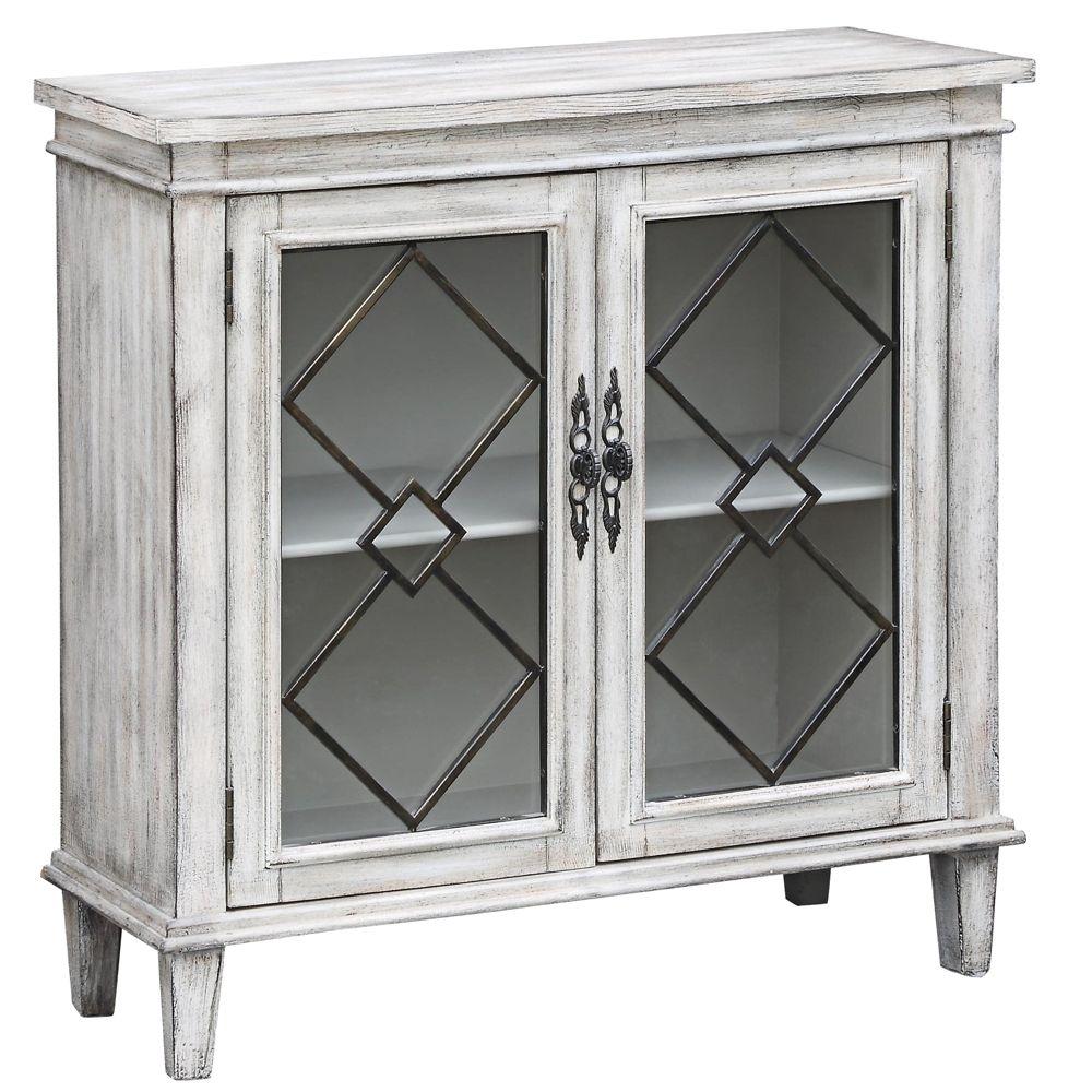 Lindsey White Wash Wood Breakfront Textured 2-Door Sideboard - Style within 2-Door White Wash Sideboards (Image 14 of 30)