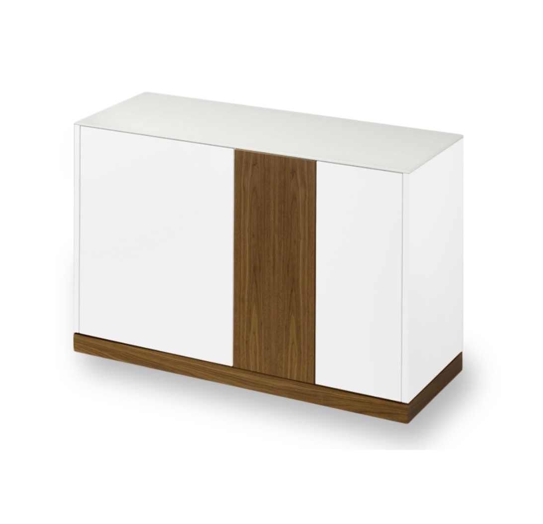 Linea 125 Small Sideboard, White Matt Lacquered Body With Walnut in Walnut Small Sideboards (Image 12 of 30)
