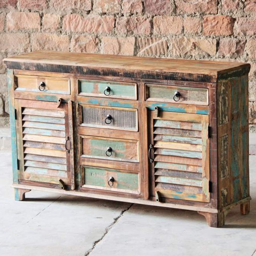 Little Tree Mary Rose Upcycled 6 Door Sideboard in Corrugated Natural 6-Door Sideboards (Image 14 of 30)